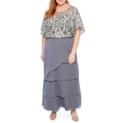Maya Brooke Tiered Blouson Embroidered Dress - Plus