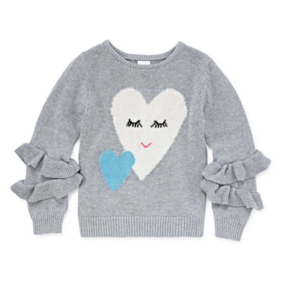 Okie Dokie Girls Crew Neck Long Sleeve Sweatshirt - Toddler