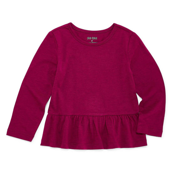 Okie Dokie Long Sleeve Peplum Top - Toddler Girls