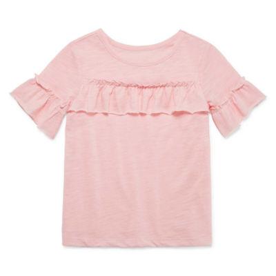 Okie Dokie Crew Neck Short Sleeve Blouse - Toddler Girls