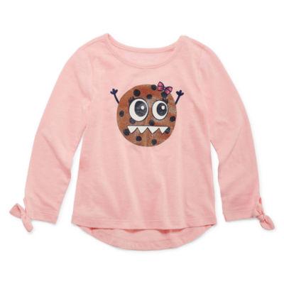 Okie Dokie Girls Crew Neck Long Sleeve Graphic T-Shirt-Toddler