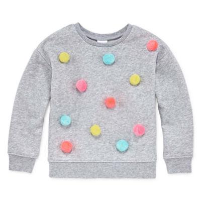 Okie Dokie Long Sleeve Pom Pom Sweatshirt  - Toddler Girls