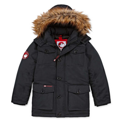 Canada Weather Gear Boys Woven Water Resistant Heavyweight Parka-Big Kid