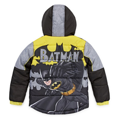Warner Bros Outerwear Batman Heavyweight Logo Puffer Jacket - Boys-Big Kid