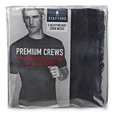 Stafford® 3-pk. Heavyweight Cotton Crewneck T-Shirts