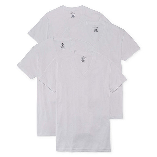 Stafford® 4 Pair Blended Cotton V-Neck T-Shirts