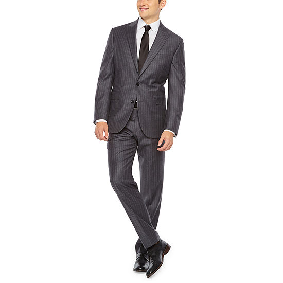 Stafford Executive Super 100 Gray Flannel Chalk Stripe Classic Fit Suit Separates