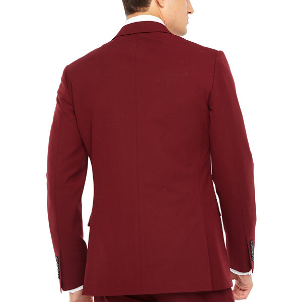 JF J.Ferrar Bright Burgundy Slim Fit Stretch Suit Jacket