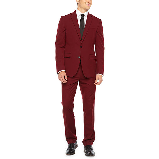 JF J. Ferrar Bright Burgundy Slim Fit Stretch Suit Separates