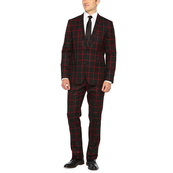 JF J.Ferrar Black Red Windowpane Slim Fit Stretch Suit Jacket