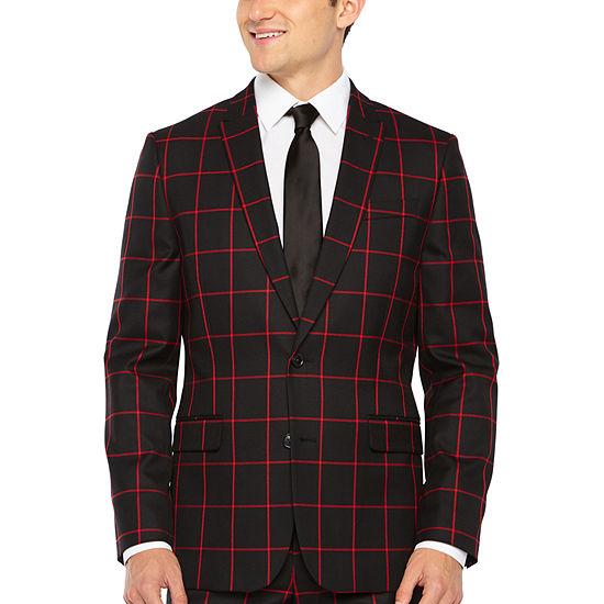 JF J.Ferrar Black Red Mens Windowpane Stretch Slim Fit Suit Jacket