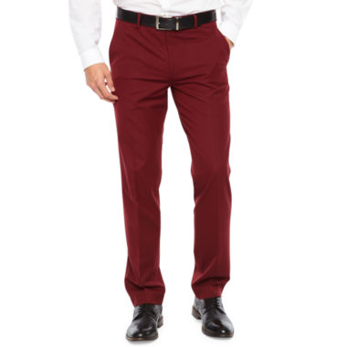 JF J.Ferrar Bright Burgundy Slim Fit Stretch Suit Pants