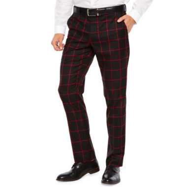 JF J.Ferrar Black Red Windowpane Slim Fit Stretch Suit Pants