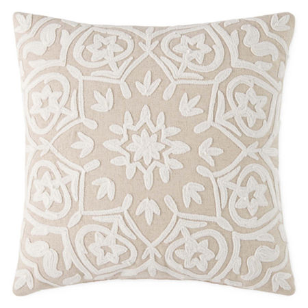 JCPenney Home Camilla Square Throw Pillow, One Size , White