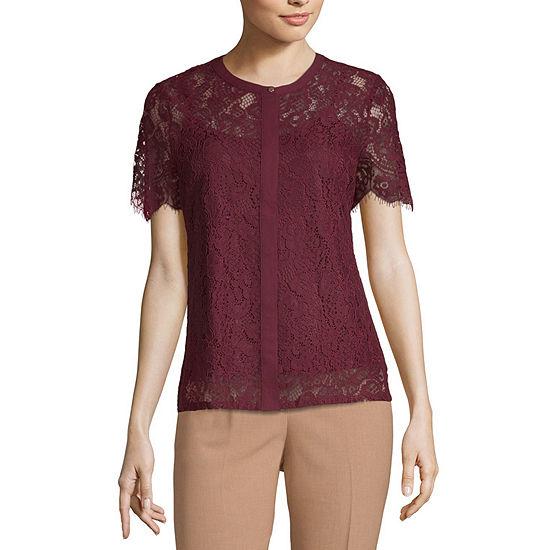 Liz Claiborne Short Sleeve Round Neck Knit Lace Blouse