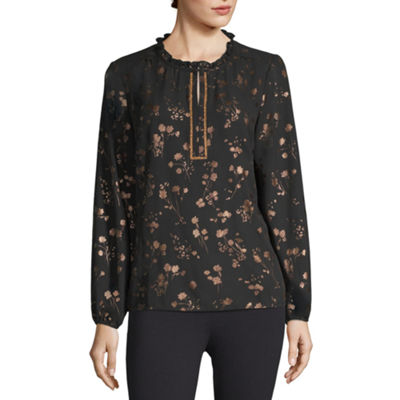 Liz Claiborne Womens Split Crew Neck Long Sleeve Woven Blouse