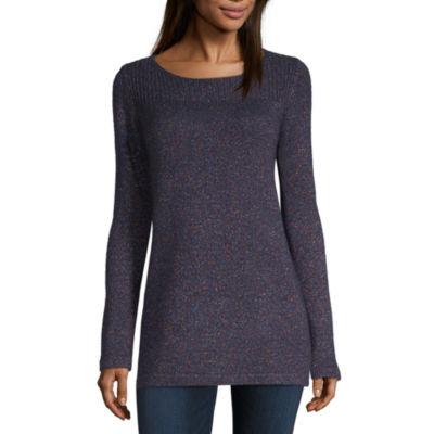 Liz Claiborne Long Sleeve Boat Neck Pullover Sweater
