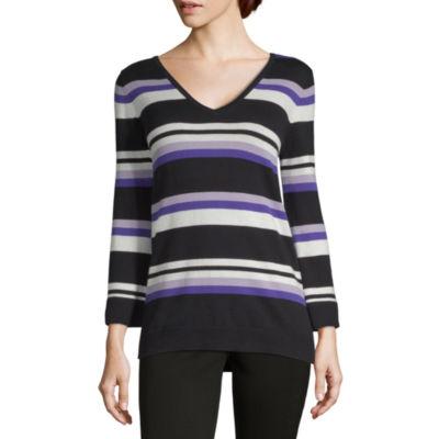 Liz Claiborne Womens V Neck Long Sleeve Stripe Pullover Sweater