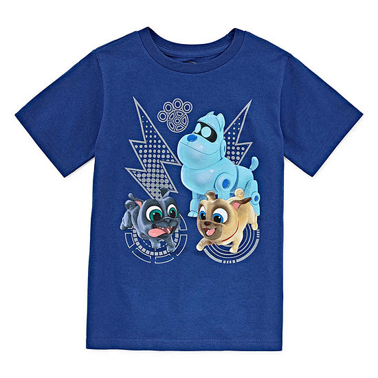 Disney Collection Boys Round Neck Short Sleeve Puppy Dog Pals Graphic T-Shirt-Toddler