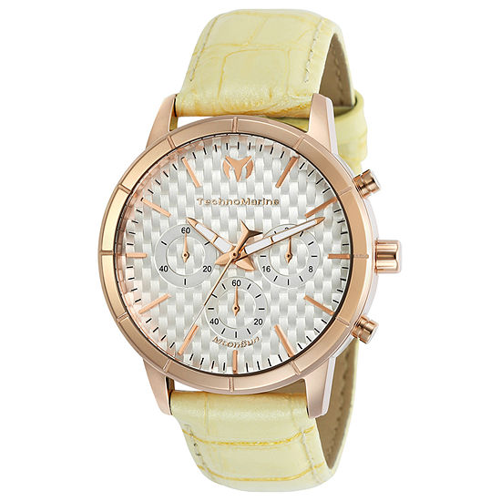 Techno Marine Moonsun Womens Chronograph Yellow Leather Strap Watch-Tm-117027