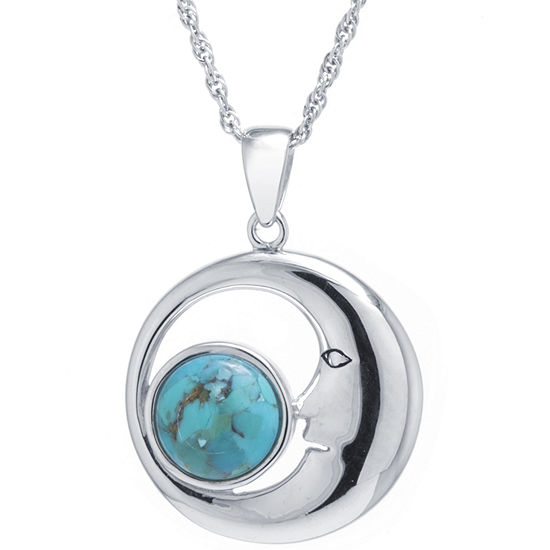 Moon Womens Enhanced Blue Turquoise Sterling Silver Pendant Necklace