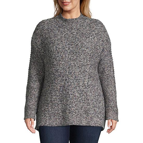 b197069618 St. John s Bay Tweed Mock Neck Sweater - Plus - JCPenney