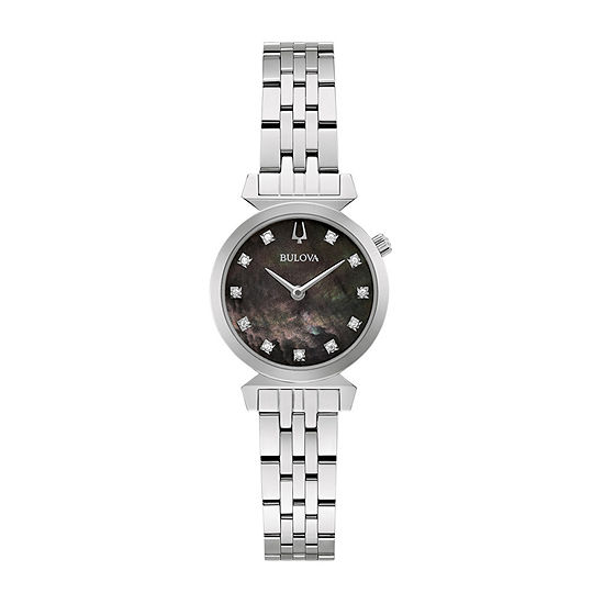 Bulova Classic Womens Diamond Accent Silver Tone Stainless Steel Bracelet Watch - 96p221