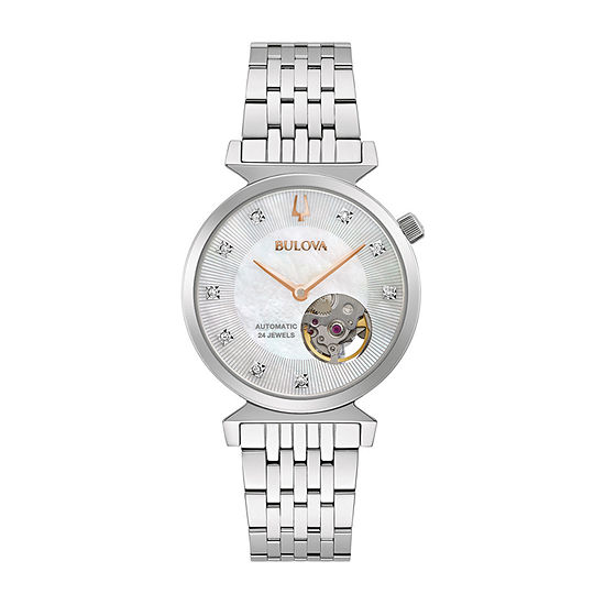 Bulova Classic Womens Diamond Accent Silver Tone Stainless Steel Bracelet Watch - 96p222