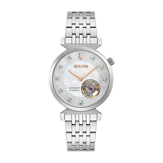 Bulova Classic Womens Diamond Accent Silver Tone Stainless Steel Bracelet Watch - 96p222