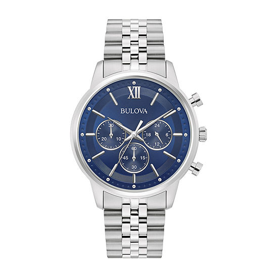 Bulova Classic Mens Chronograph Silver Tone Stainless Steel Bracelet Watch - 96a262