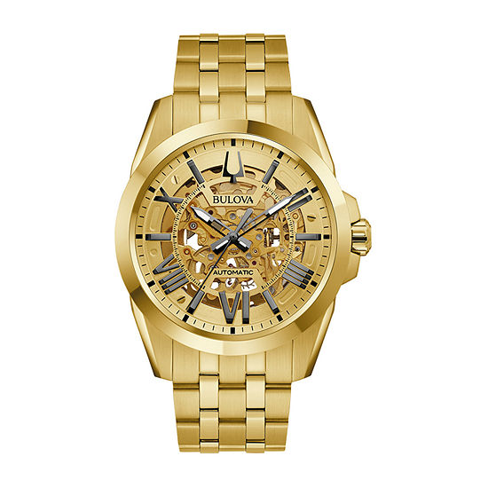 Bulova Classic Mens Automatic Gold Tone Stainless Steel Bracelet Watch - 97a162