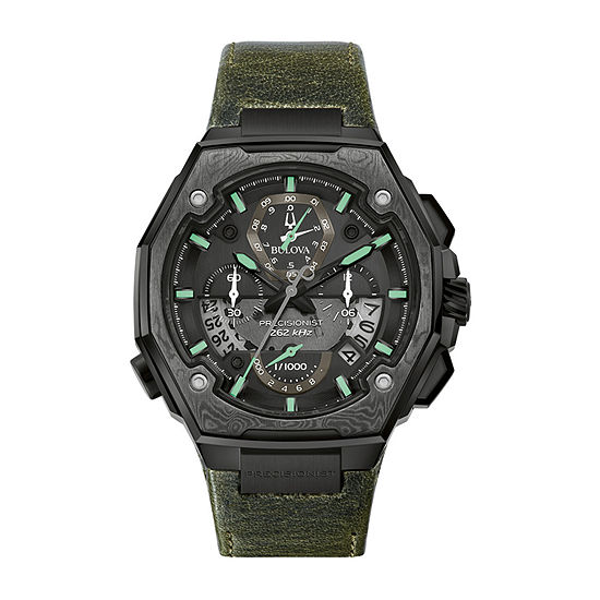 Bulova Precisionist Mens Chronograph Green Leather Bracelet Watch - 98b355