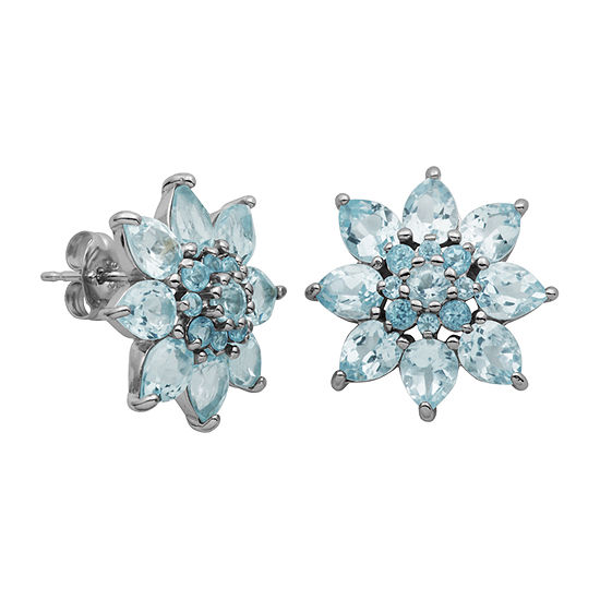 Genuine Blue Topaz Sterling Silver 15.8mm Flower Stud Earrings