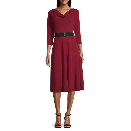 Danny & Nicole 3/4 Sleeve Midi Fit & Flare Dress