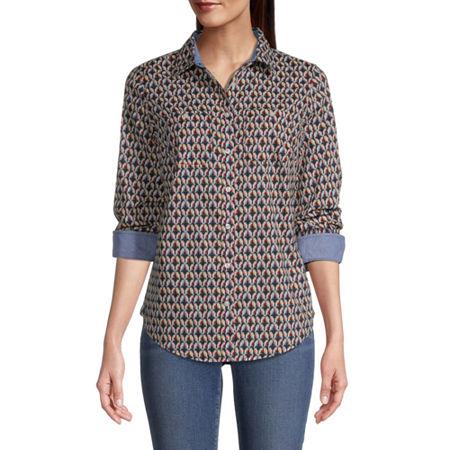 St. John's Bay Womens Long Sleeve Regular Fit Button-Down Shirt, Petite Small , Blue - 85802190034