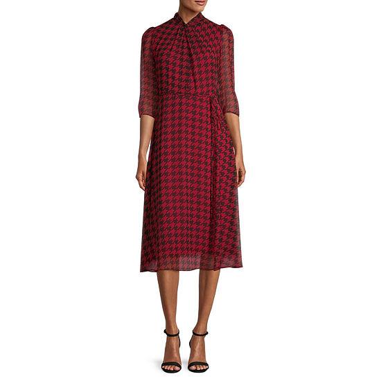 Danny & Nicole 3/4 Sheer Sleeve Fit & Flare Dress