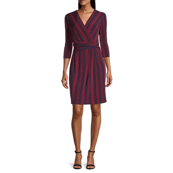 London Times 3/4 Sleeve Striped Wrap Dress