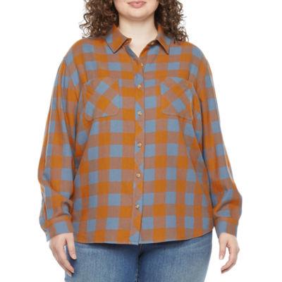 a.n.a Plus Womens Long Sleeve Regular Fit Button-Down Shirt