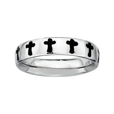 Personally Stackable Sterling Silver Cross Stackable Ring