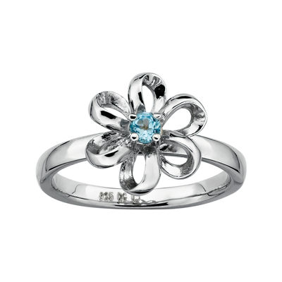 Personally Stackable Lab-Created Blue Topaz Sterling Flower Stackable Ring