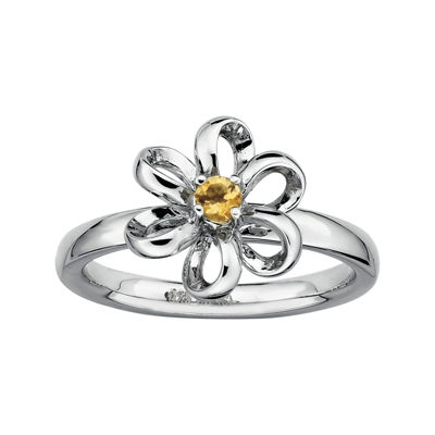 Personally Stackable Lab-Created Citrine Sterling Silver Flower Stackable Ring