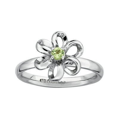 Personally Stackable Lab-Created Peridot Sterling Silver Flower Stackable Ring