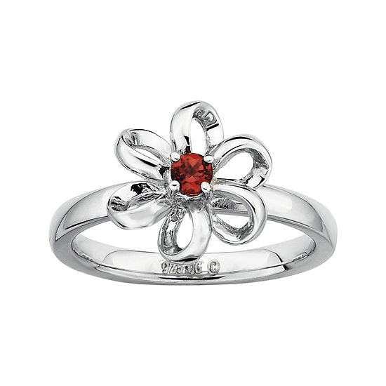 Personally Stackable Lab-Created Garnet Sterling Silver Flower Stackable Ring