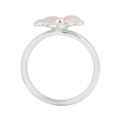 Personally Stackable Sterling Silver Pink Flower Stackable Ring