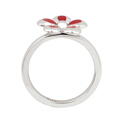 Personally Stackable Sterling Silver Red Flower Stackable Ring