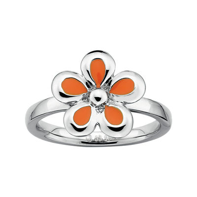 Personally Stackable Sterling Silver Orange Flower Stackable Ring