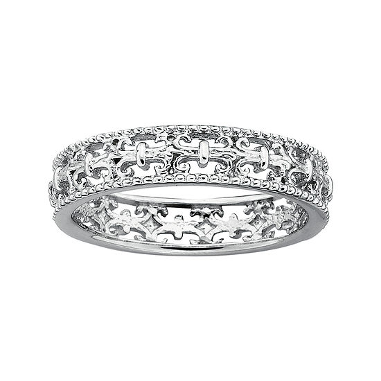 Personally Stackable Sterling Silver Fleur-De-Lis Stackable Ring