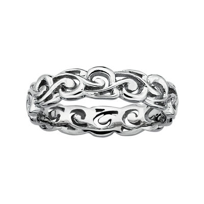 Personally Stackable Sterling Silver Filigree Stackable Ring