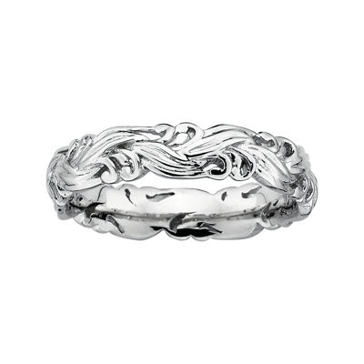 Personally Stackable Sterling Silver Scroll Stackable Ring