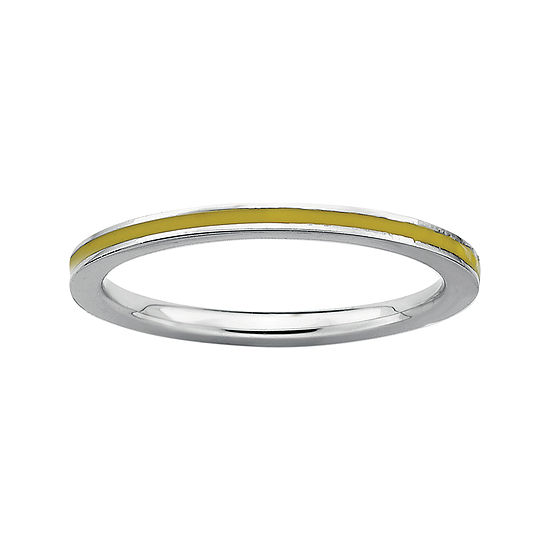 Personally Stackable Sterling Silver Yellow Enamel Stackable Ring